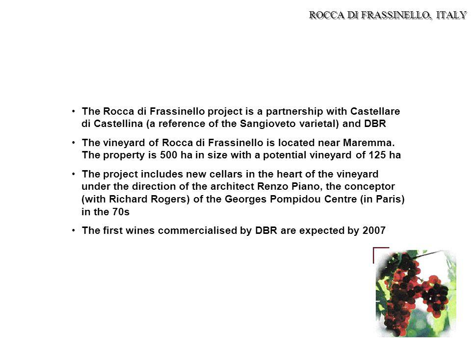The Rocca di Frassinello project is a partnership with Castellare di Castellina (a reference of the Sangioveto varietal) and DBR The vineyard of Rocca