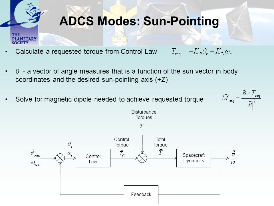 ADCS Modes: Sun-Pointing Calculate a requested torque from Control Law θ - a vector of angle measures that is a function of the sun vector in body coo