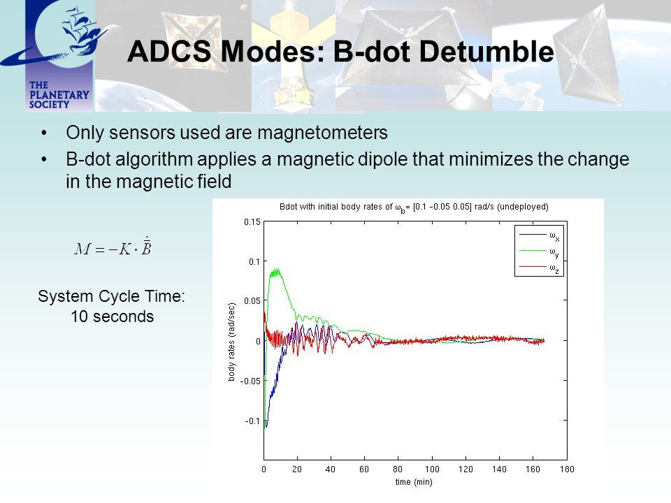 ADCS Modes: B-dot Detumble Only sensors used are magnetometers B-dot algorithm applies a magnetic dipole that minimizes the change in the magnetic fie