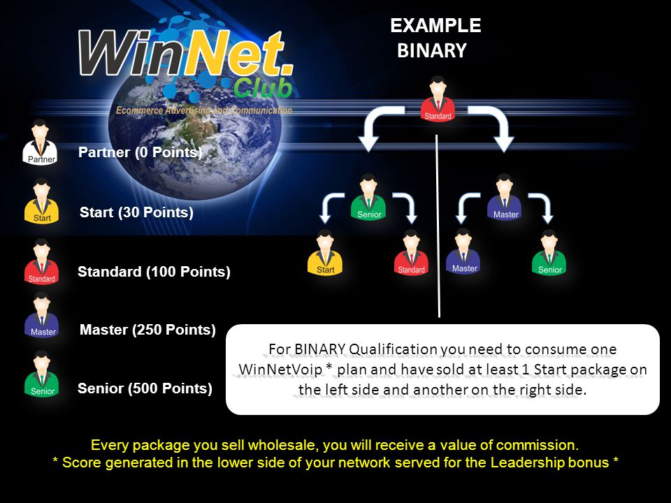 Partner (0 Points) Start (30 Points) Standard (100 Points) Master (250 Points) Senior (500 Points) EXAMPLEBINARY Every package you sell wholesale, you will receive a value of commission.