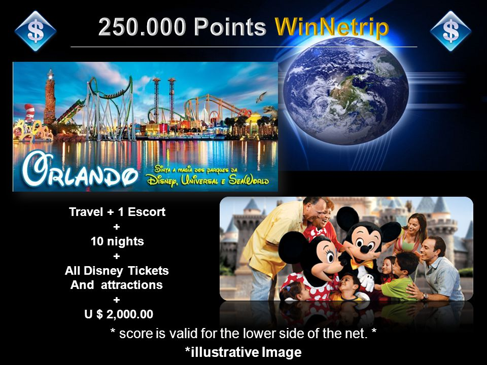 Travel + 1 Escort + 10 nights + All Disney Tickets And attractions + U $ 2,000.00 *illustrative Image * score is valid for the lower side of the net.