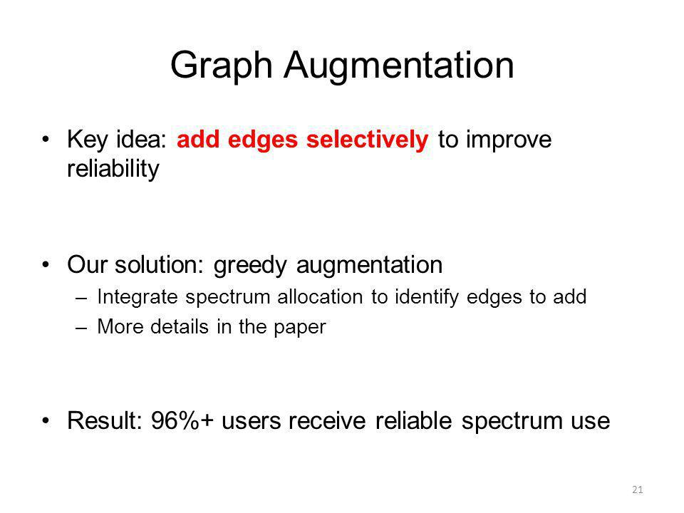 Graph Augmentation Key idea: add edges selectively to improve reliability Our solution: greedy augmentation –Integrate spectrum allocation to identify edges to add –More details in the paper Result: 96%+ users receive reliable spectrum use 21