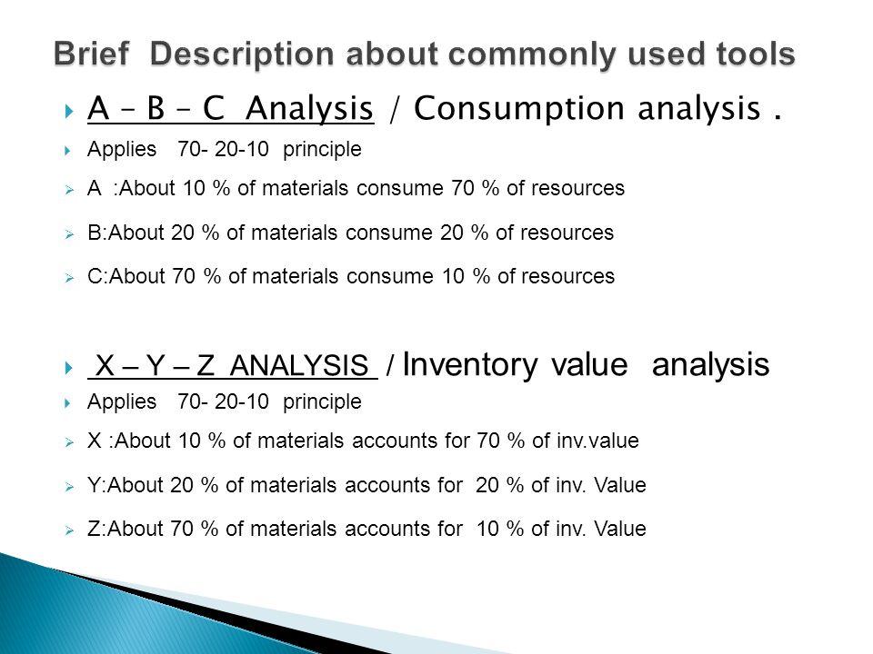  A – B – C Analysis / Consumption analysis.