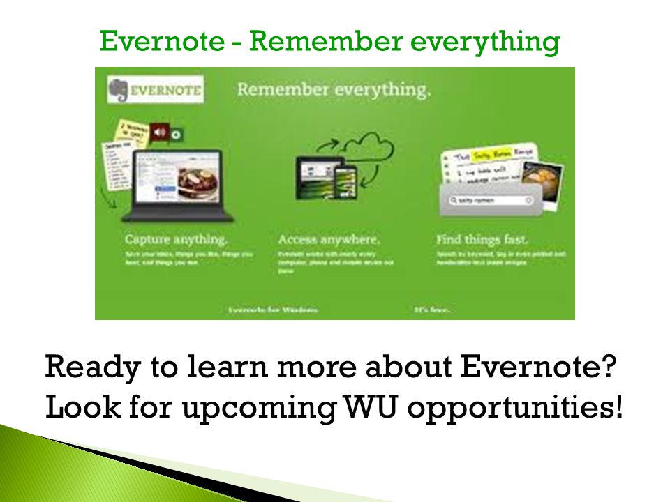 Ready to learn more about Evernote. Look for upcoming WU opportunities.