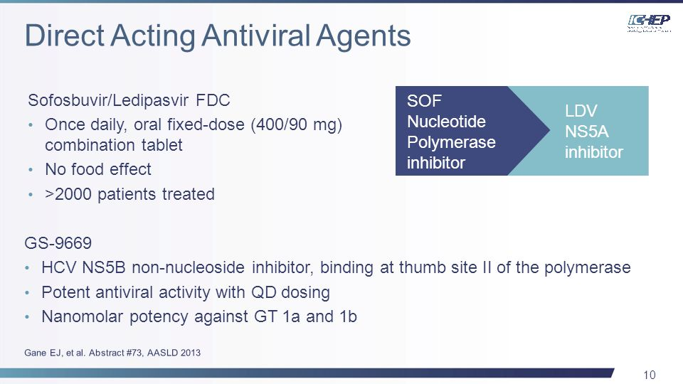 10 GS-9669 HCV NS5B non-nucleoside inhibitor, binding at thumb site II of the polymerase Potent antiviral activity with QD dosing Nanomolar potency against GT 1a and 1b Sofosbuvir/Ledipasvir FDC Once daily, oral fixed-dose (400/90 mg) combination tablet No food effect >2000 patients treated SOF Nucleotide Polymerase inhibitor LDV NS5A inhibitor