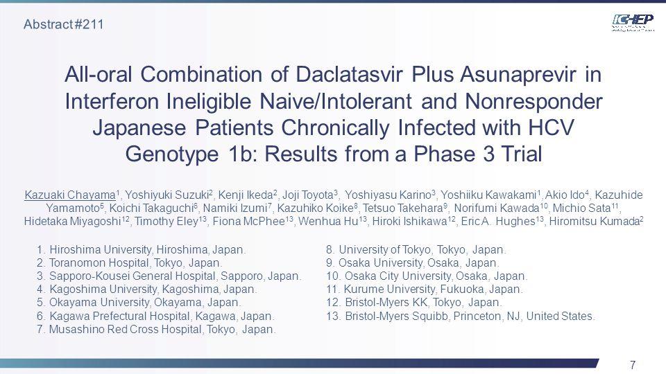7 All-oral Combination of Daclatasvir Plus Asunaprevir in Interferon Ineligible Naive/Intolerant and Nonresponder Japanese Patients Chronically Infected with HCV Genotype 1b: Results from a Phase 3 Trial Kazuaki Chayama 1, Yoshiyuki Suzuki 2, Kenji Ikeda 2, Joji Toyota 3, Yoshiyasu Karino 3, Yoshiiku Kawakami 1, Akio Ido 4, Kazuhide Yamamoto 5, Koichi Takaguchi 6, Namiki Izumi 7, Kazuhiko Koike 8, Tetsuo Takehara 9, Norifumi Kawada 10, Michio Sata 11, Hidetaka Miyagoshi 12, Timothy Eley 13, Fiona McPhee 13, Wenhua Hu 13, Hiroki Ishikawa 12, Eric A.