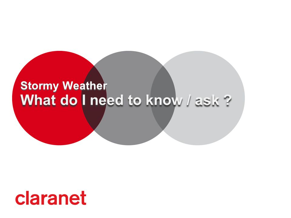 What do I need to know / ask ? Stormy Weather