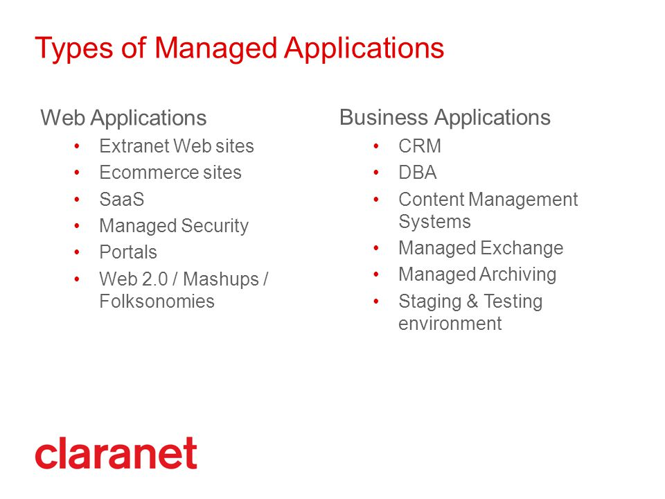 Types of Managed Applications Web Applications Extranet Web sites Ecommerce sites SaaS Managed Security Portals Web 2.0 / Mashups / Folksonomies Business Applications CRM DBA Content Management Systems Managed Exchange Managed Archiving Staging & Testing environment