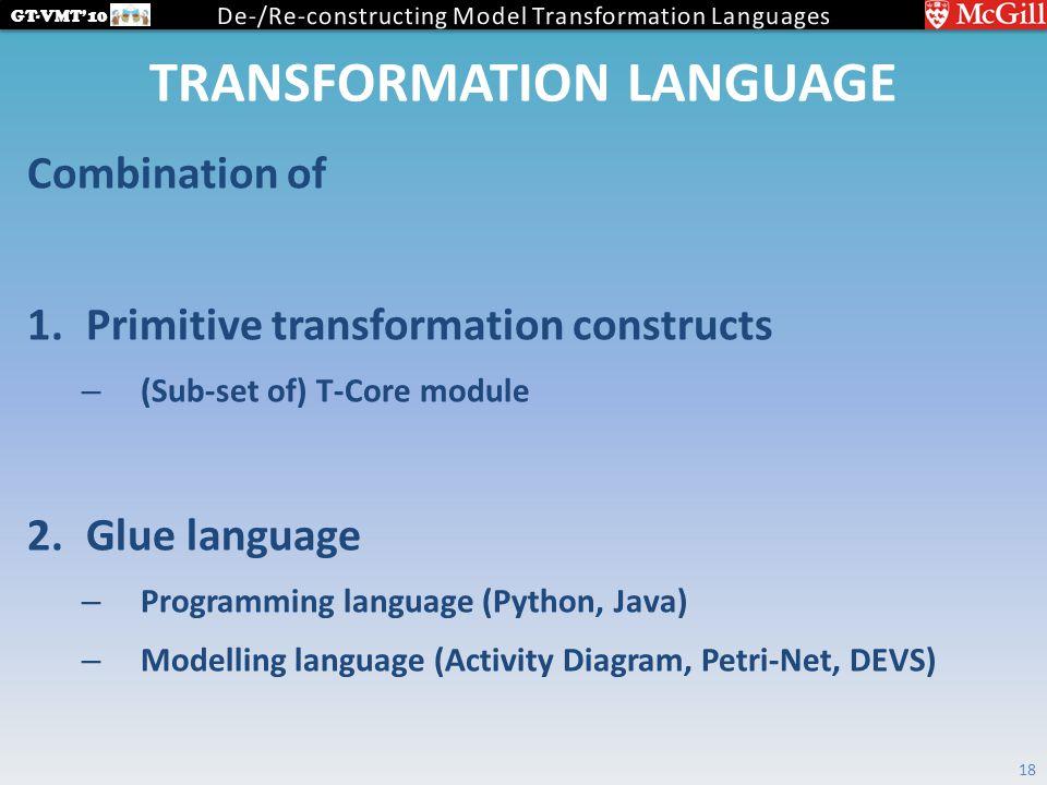 GT-VMT'10 TRANSFORMATION LANGUAGE Combination of 1.Primitive transformation constructs – (Sub-set of) T-Core module 2.Glue language – Programming language (Python, Java) – Modelling language (Activity Diagram, Petri-Net, DEVS) 18