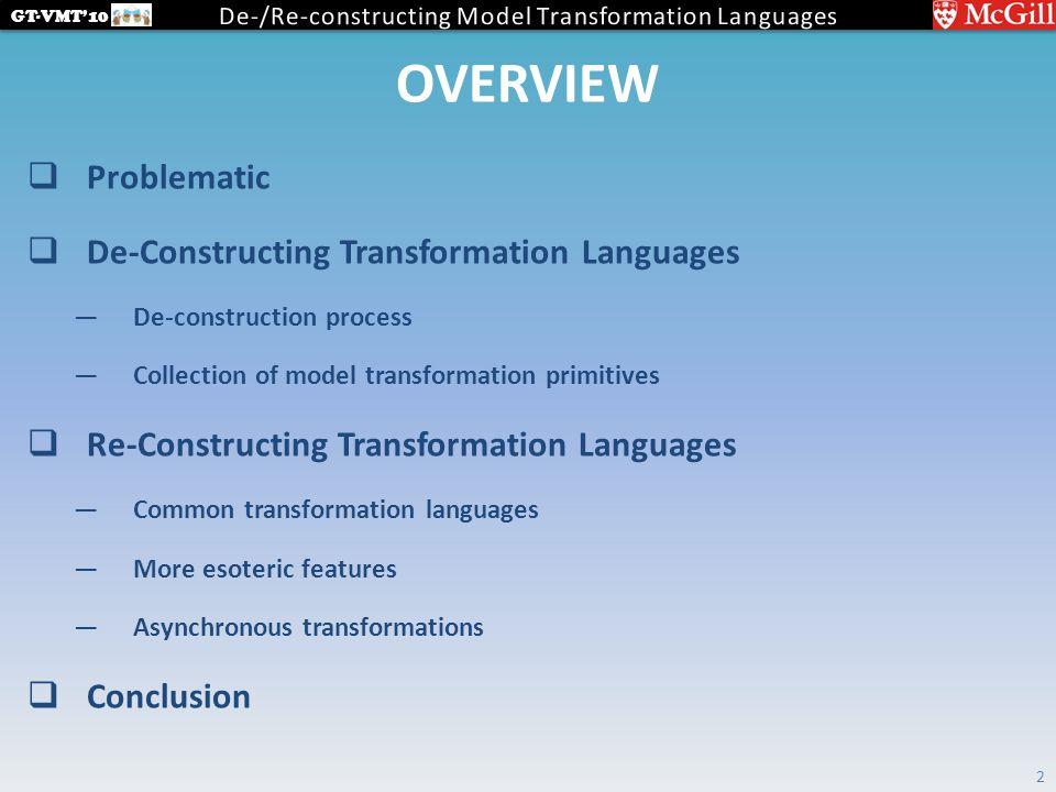 GT-VMT'10 OVERVIEW  Problematic  De-Constructing Transformation Languages —De-construction process —Collection of model transformation primitives  Re-Constructing Transformation Languages —Common transformation languages —More esoteric features —Asynchronous transformations  Conclusion 2