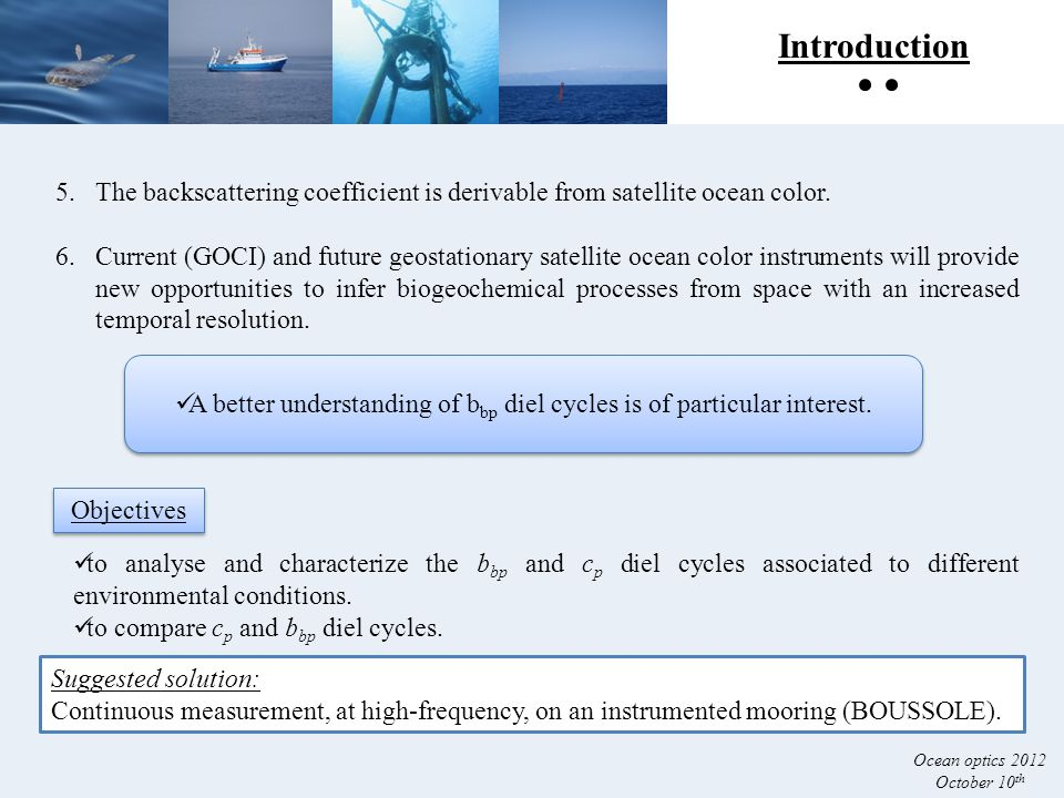 Introduction 5.The backscattering coefficient is derivable from satellite ocean color.