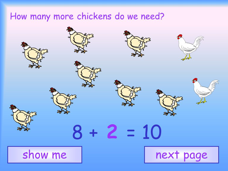 How many more chickens do we need 2 next pageshow me 8 + = 10
