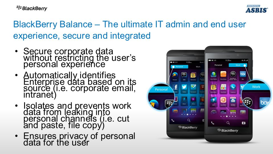 Secure corporate data without restricting the user's personal experience Automatically identifies Enterprise data based on its source (i.e.