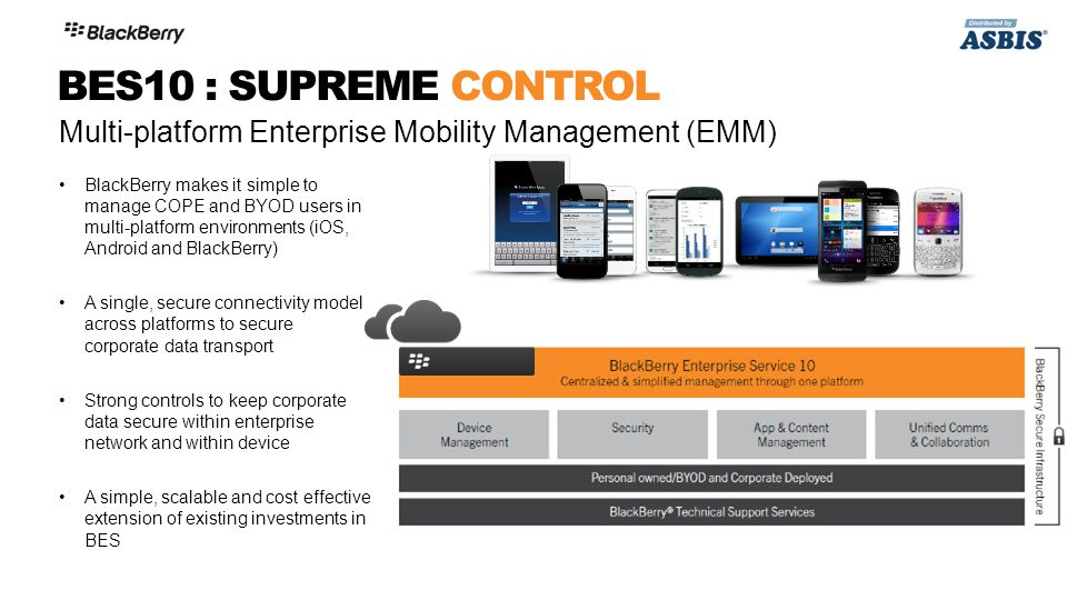 BlackBerry makes it simple to manage COPE and BYOD users in multi-platform environments (iOS, Android and BlackBerry) A single, secure connectivity mo