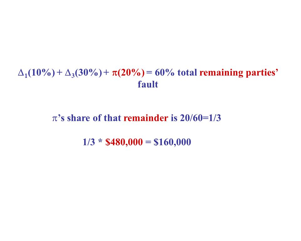  1 (10%) +  3 (30%) +  (20%) = 60% total remaining parties' fault  's share of that remainder is 20/60=1/3 1/3 * $480,000 = $160,000