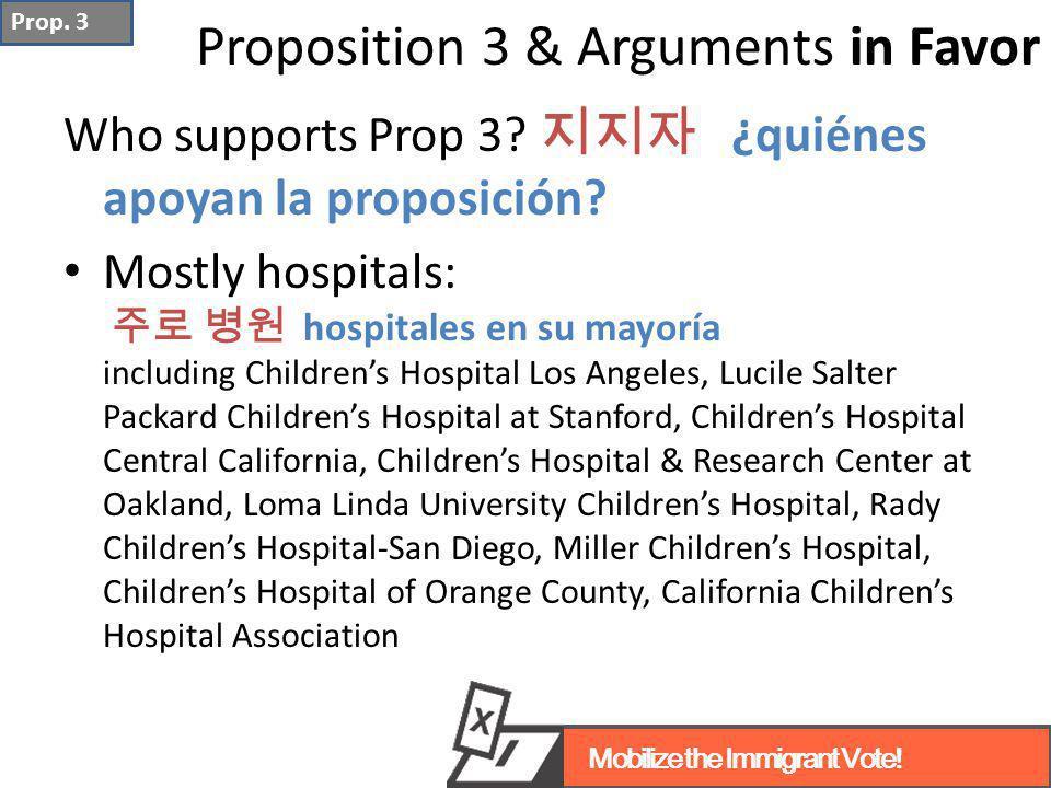 Who supports Prop 3? 지지자 ¿quiénes apoyan la proposición? Mostly hospitals: 주로 병원 hospitales en su mayoría including Children's Hospital Los Angeles, L