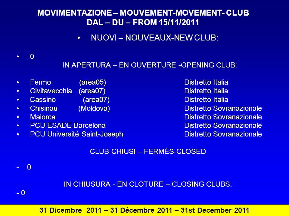 Club in gestione straordinaria – gestion extraordinaire – extraordinary management Bolzano (area 01) Distretto Italia Conegliano (area 01) Distretto Italia Olbia Costa Smeralda (area 13) Distretto Italia 31 Dicembre 2011 – 31 Décembre 2011 – 31st December 2011