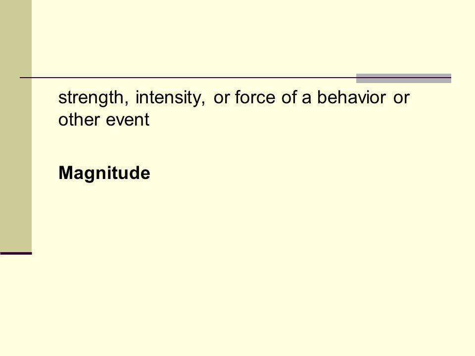 strength, intensity, or force of a behavior or other event Magnitude