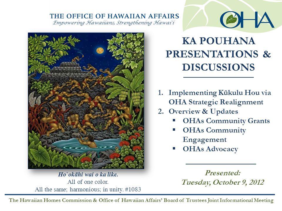 Empowering Hawaiians, Strengthening Hawai i KA POUHANA PRESENTATIONS & DISCUSSIONS 1.Implementing Kūkulu Hou via OHA Strategic Realignment 2.Overview & Updates  OHAs Community Grants  OHAs Community Engagement  OHAs Advocacy Presented: Tuesday, October 9, 2012 Ho`ok ā hi wai o ka like.