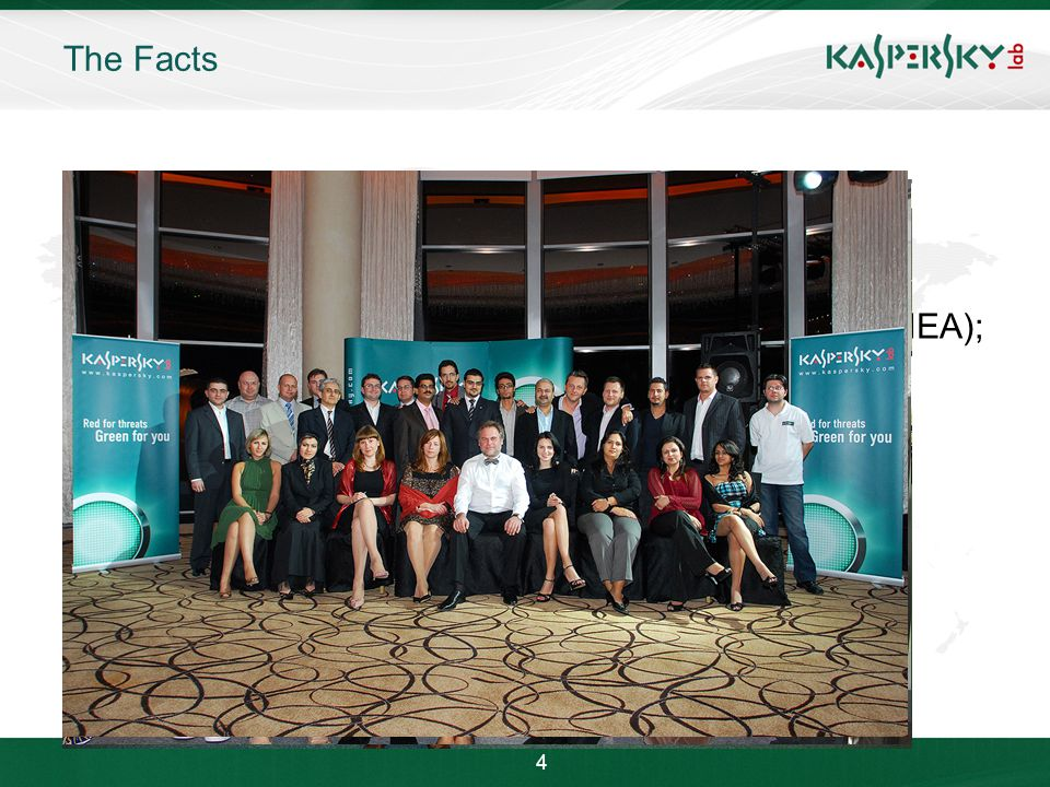 Click to edit Master title style Click to edit Master text styles –Second level Third level –Fourth level »Fifth level June 10 th, 2009Event details (title, place) The Facts Over 1500 employees worldwide Over 250 million users worldwide protected by our products and technologies Kaspersky Lab's technologies licensed by over 100 OEMs worldwide One of the fastest-growing security software companies Largest privately-held security software company 5