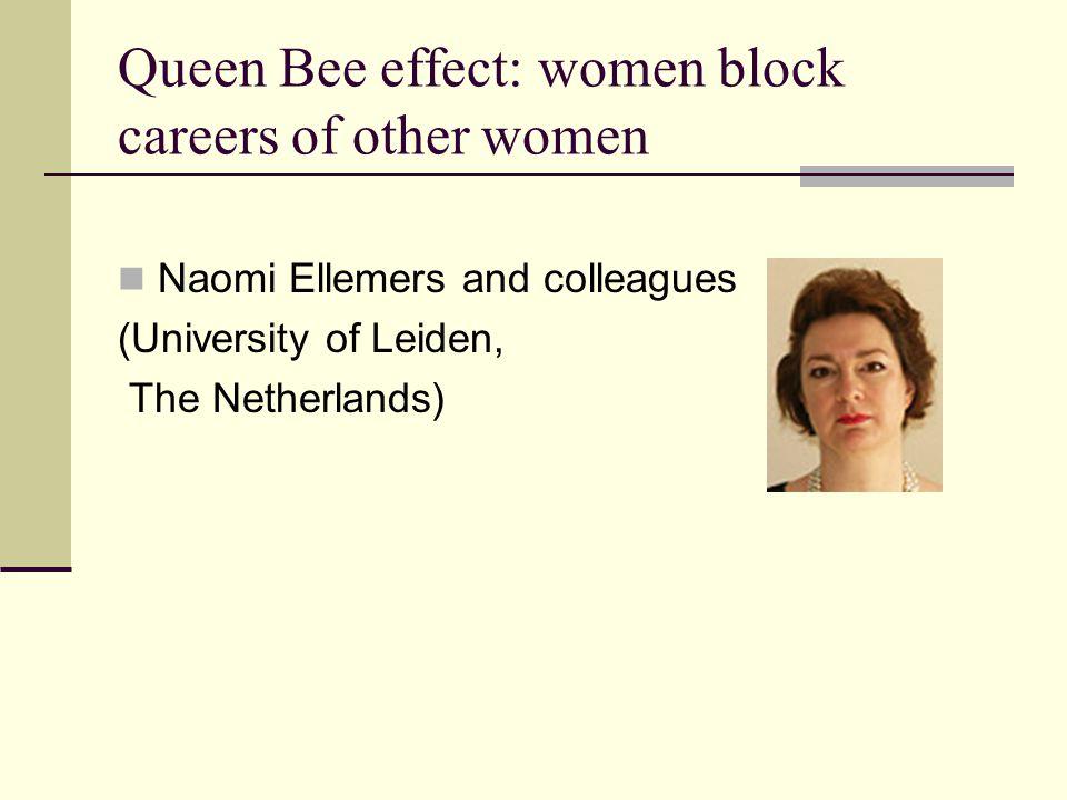 Queen Bee effect: women block careers of other women Naomi Ellemers and colleagues (University of Leiden, The Netherlands)
