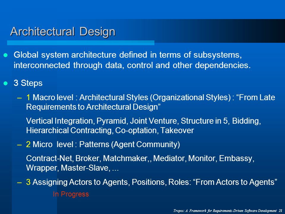 Tropos: A Framework for Requirements-Driven Software Development 21 Architectural Design Global system architecture defined in terms of subsystems, interconnected through data, control and other dependencies.
