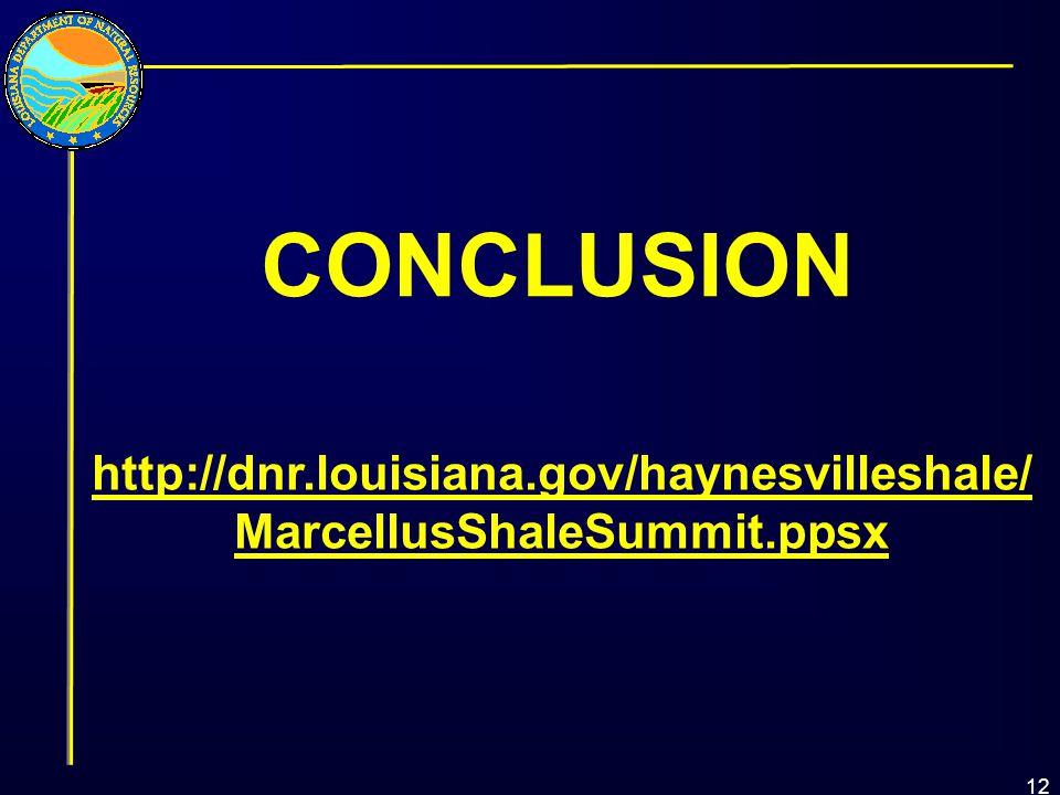 CONCLUSION 12 http://dnr.louisiana.gov/haynesvilleshale/ MarcellusShaleSummit.ppsx