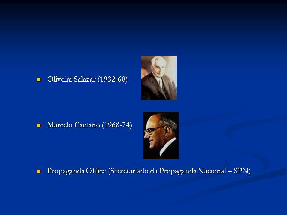 Oliveira Salazar (1932-68) Oliveira Salazar (1932-68) Marcelo Caetano (1968-74) Marcelo Caetano (1968-74) Propaganda Office (Secretariado da Propaganda Nacional – SPN) Propaganda Office (Secretariado da Propaganda Nacional – SPN)