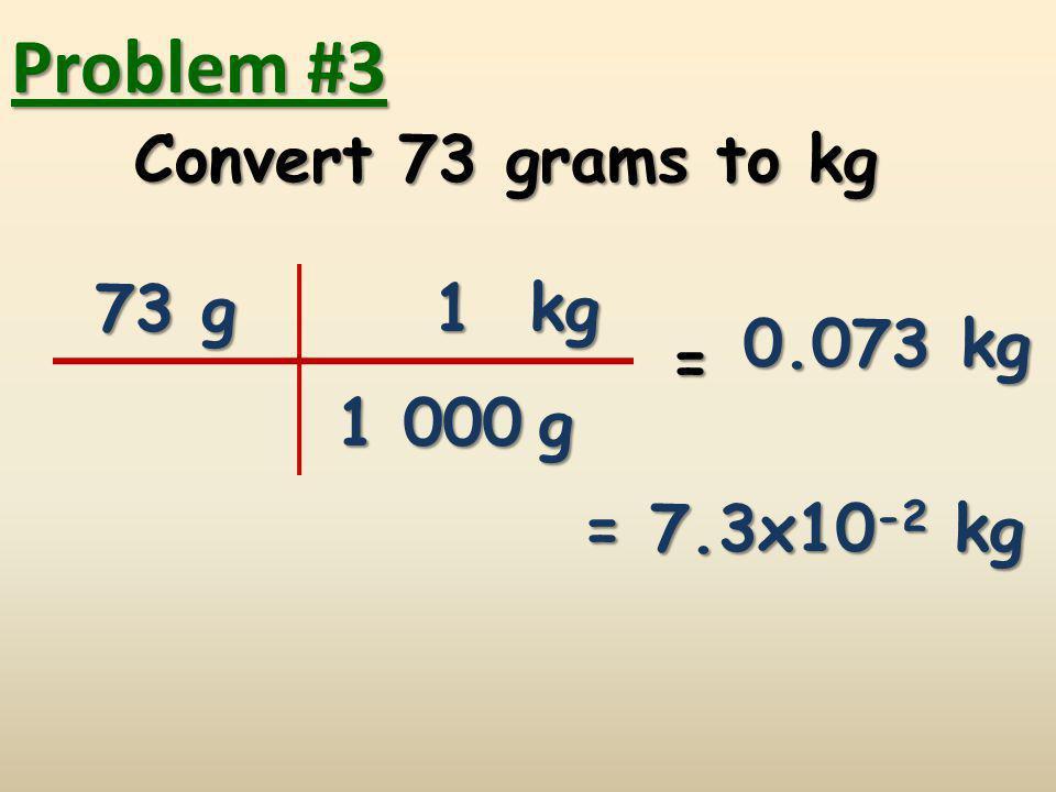 Problem #4 Convert0.02 kilometers to m Convert 0.02 kilometers to m 0.02 km = m km m 1 1 000 20 = 2x10 1 m