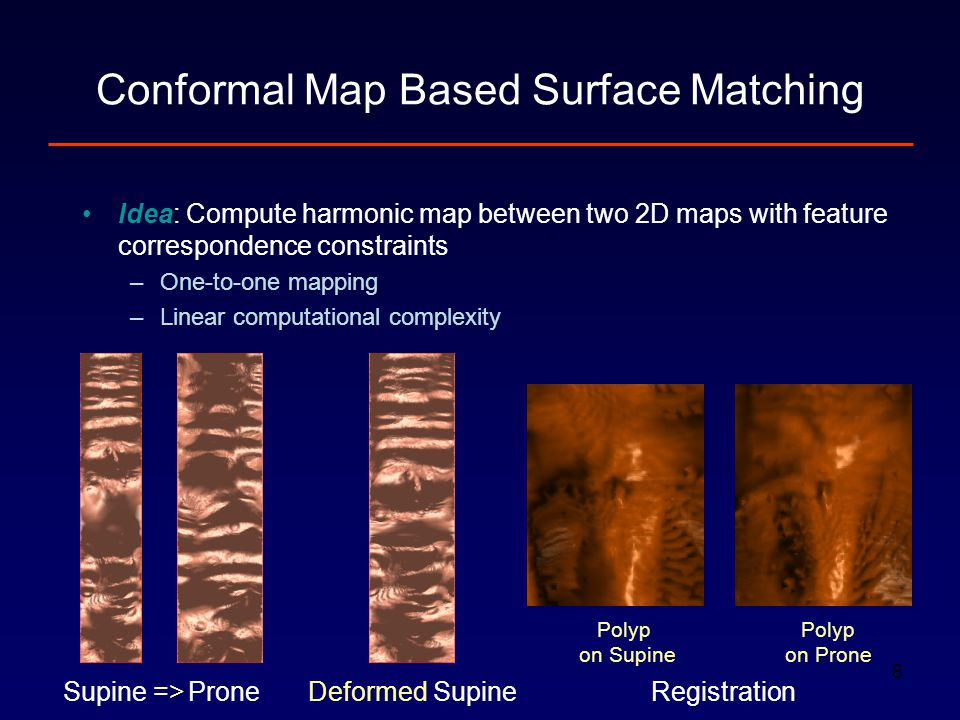 8 Idea: Compute harmonic map between two 2D maps with feature correspondence constraints –One-to-one mapping –Linear computational complexity Conforma