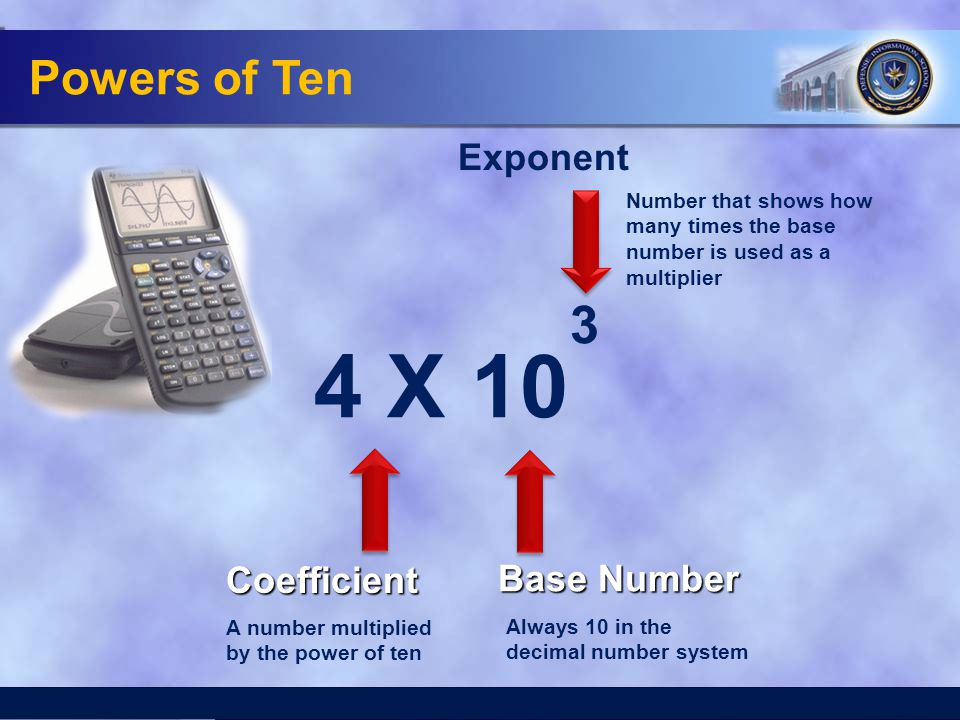 Powers of Ten 4 X 10 3 Exponent Base Number Coefficient A number multiplied by the power of ten Always 10 in the decimal number system Number that sho