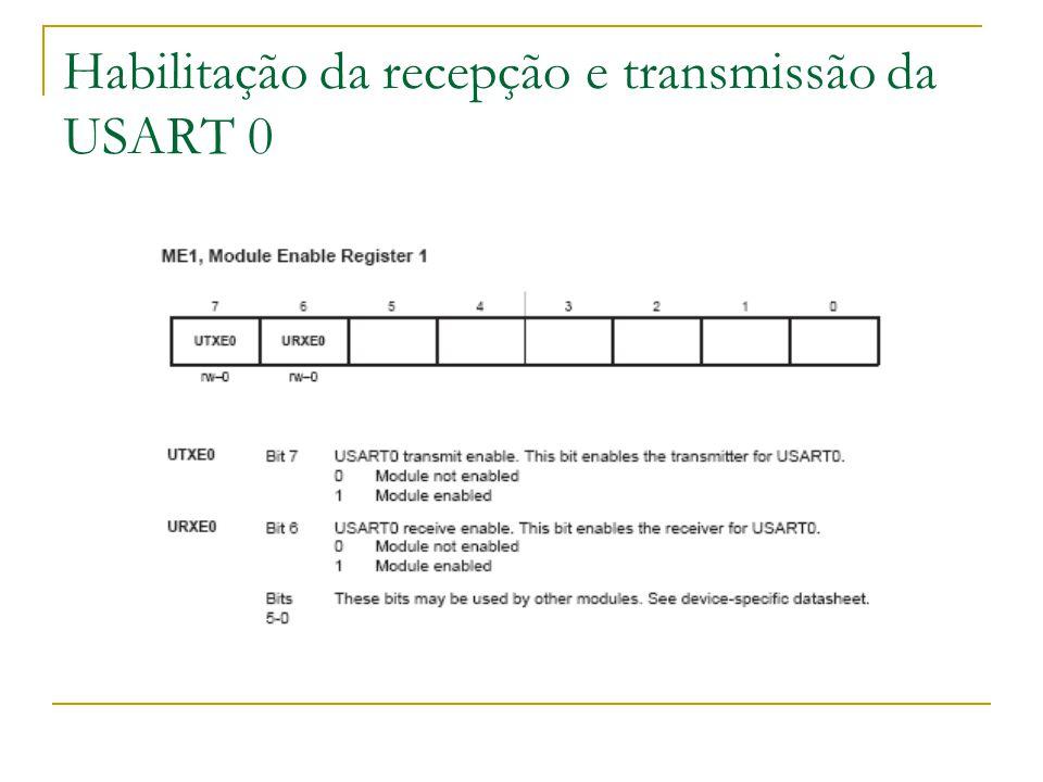 Habilitação da recepção e transmissão da USART 0