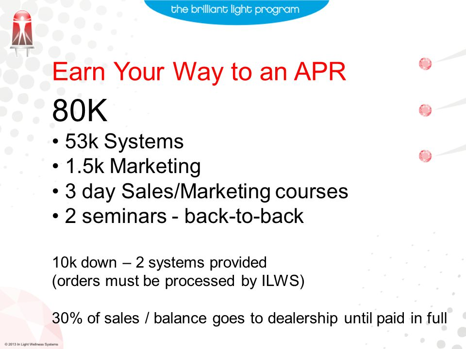 Earn Your Way to an APR 80K 53k Systems 1.5k Marketing 3 day Sales/Marketing courses 2 seminars - back-to-back 10k down – 2 systems provided (orders must be processed by ILWS) 30% of sales / balance goes to dealership until paid in full