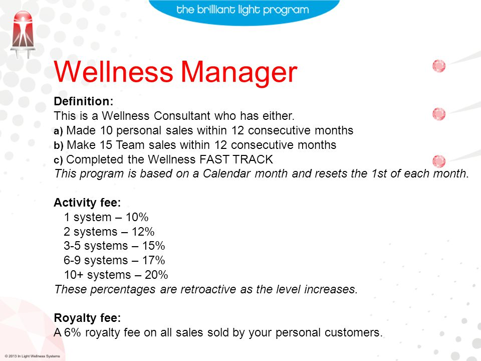 Wellness Manager Definition: This is a Wellness Consultant who has either.