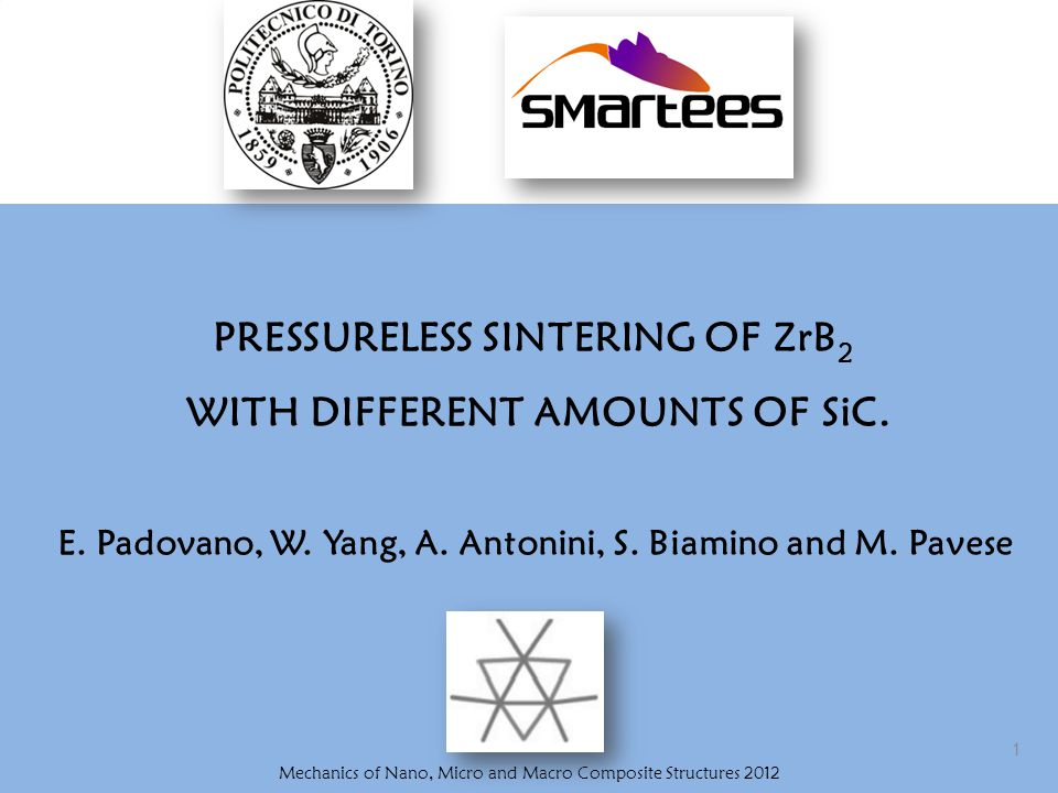 Outline Processing of multilayer ceramic based on ZrB 2 /SiC composites: TAPE CASTING, DEBINDING and PRESSURELESS SINTERING CHARACTERIZATION: SEM microanalysis Relative densities Elastic modulus Bending strenght Conclusions
