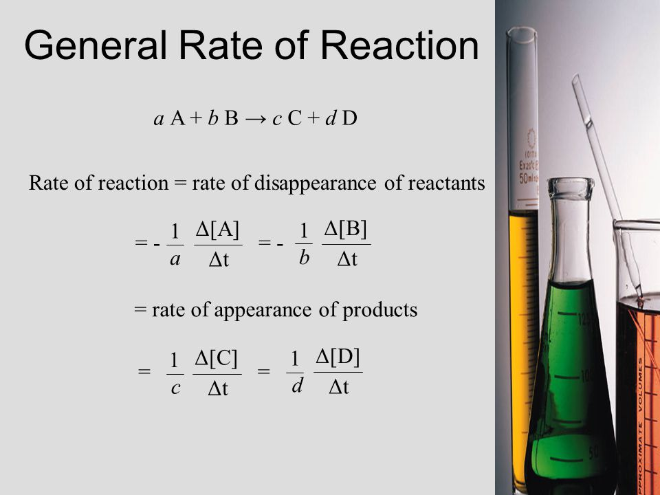 a A + b B → c C + d D Rate of reaction = rate of disappearance of reactants = Δ[C] ΔtΔt 1 c = Δ[D] ΔtΔt 1 d Δ[A] ΔtΔt 1 a = - Δ[B] ΔtΔt 1 b = - = rate of appearance of products General Rate of Reaction