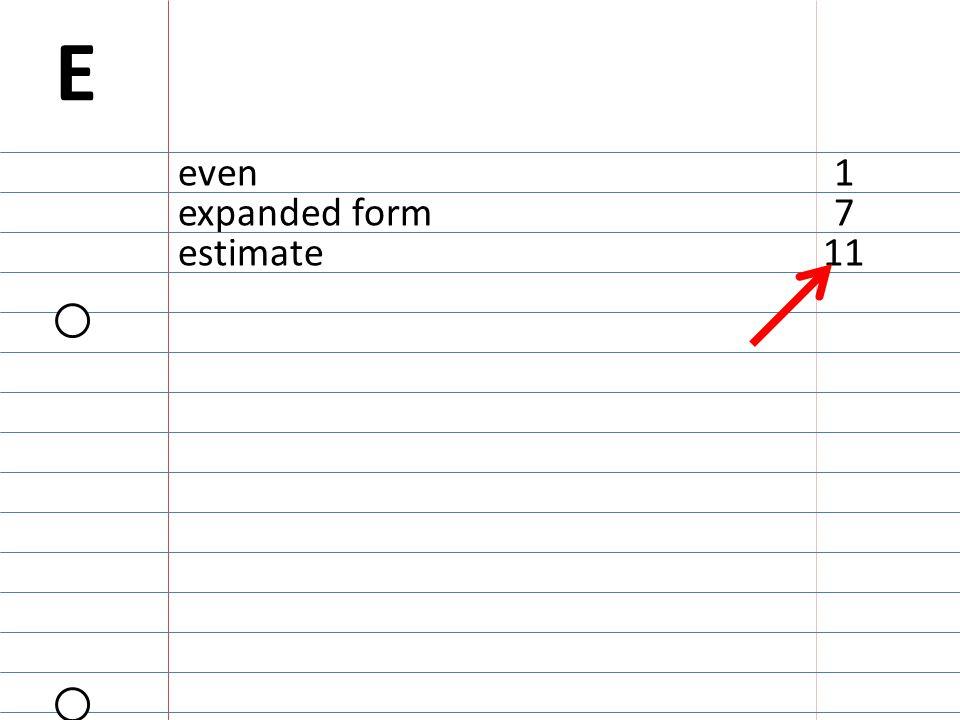 11estimate 7expanded form even E 1