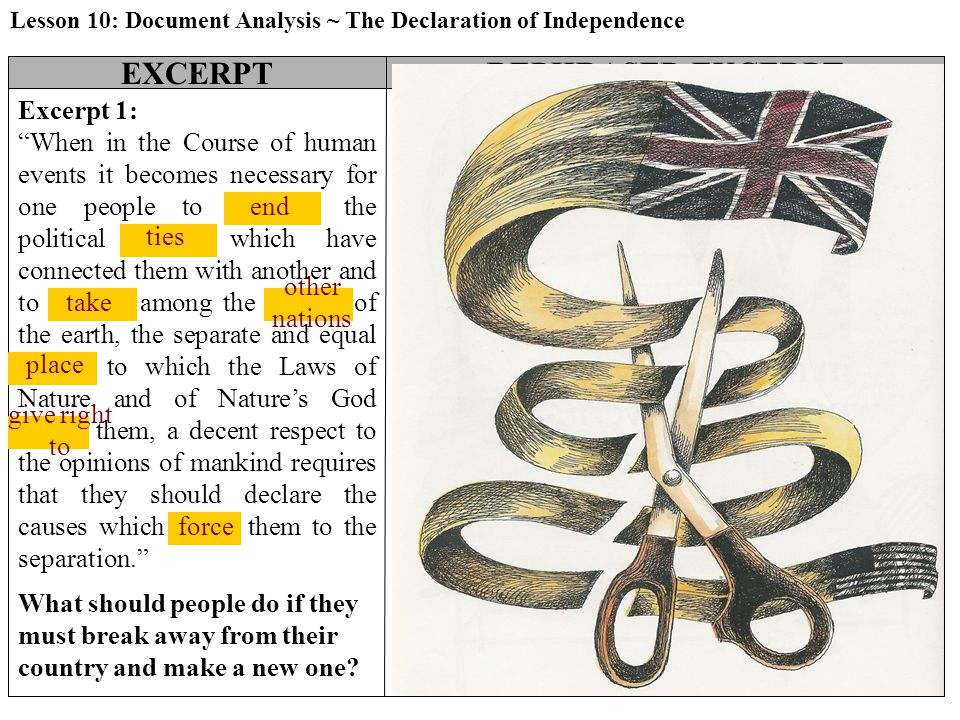 """Attach the Paraphrases of the Declaration of Independence EXCERPTREPHRASED EXCERPTSIMPLE SKETCH Excerpt 1: """"When in the Course of human events it beco"""