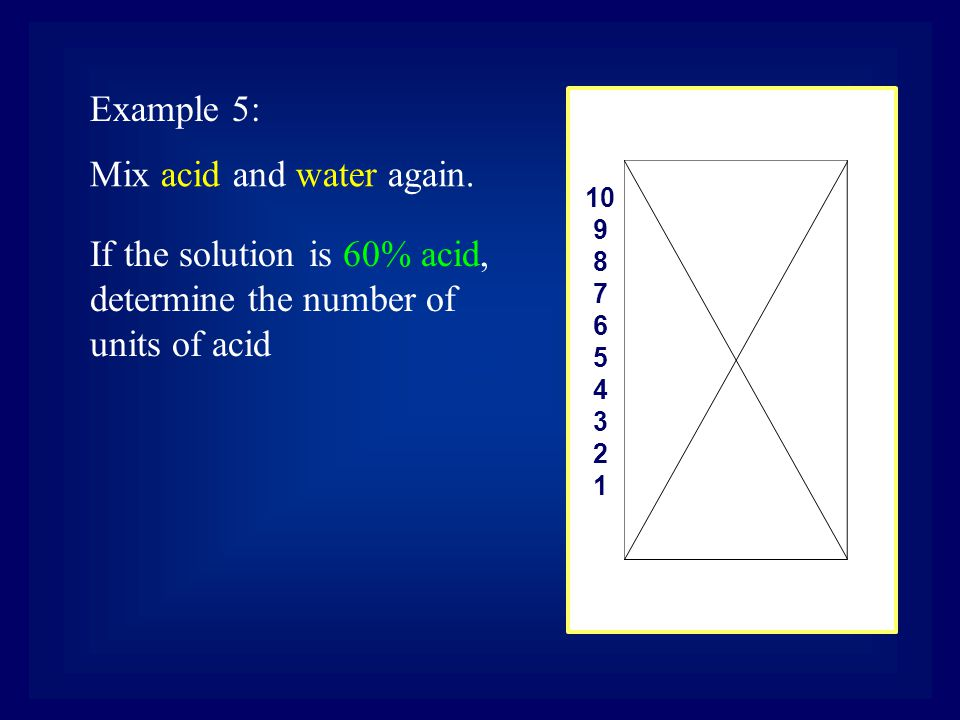 10 9 8 7 6 5 4 3 2 1 Mix acid and water again.