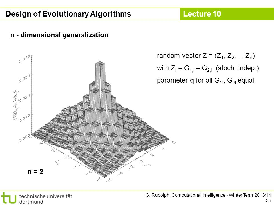 Lecture 10 G. Rudolph: Computational Intelligence ▪ Winter Term 2013/14 35 Design of Evolutionary Algorithms n - dimensional generalization n = 2 rand