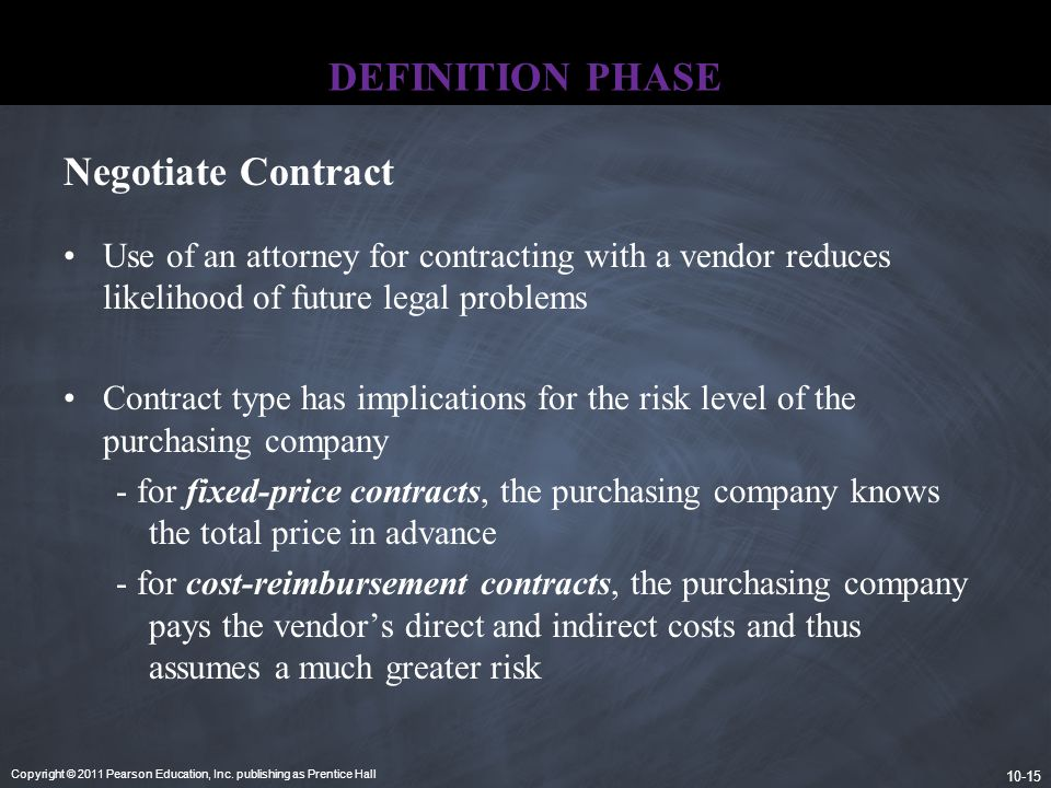 Copyright © 2011 Pearson Education, Inc. publishing as Prentice Hall 10-15 DEFINITION PHASE Use of an attorney for contracting with a vendor reduces l