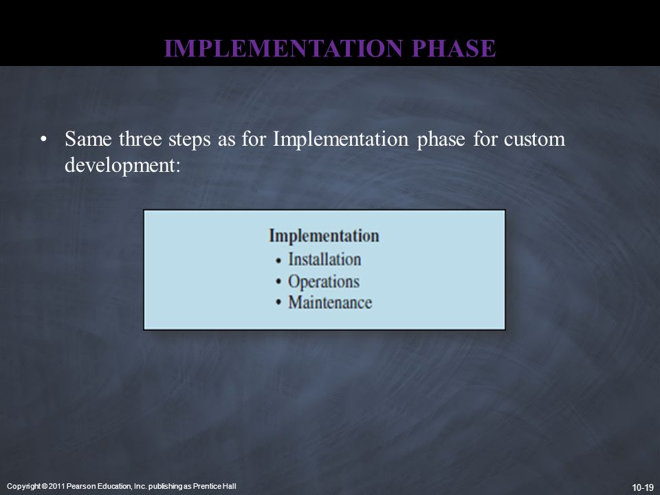 Copyright © 2011 Pearson Education, Inc. publishing as Prentice Hall 10-19 IMPLEMENTATION PHASE Same three steps as for Implementation phase for custo