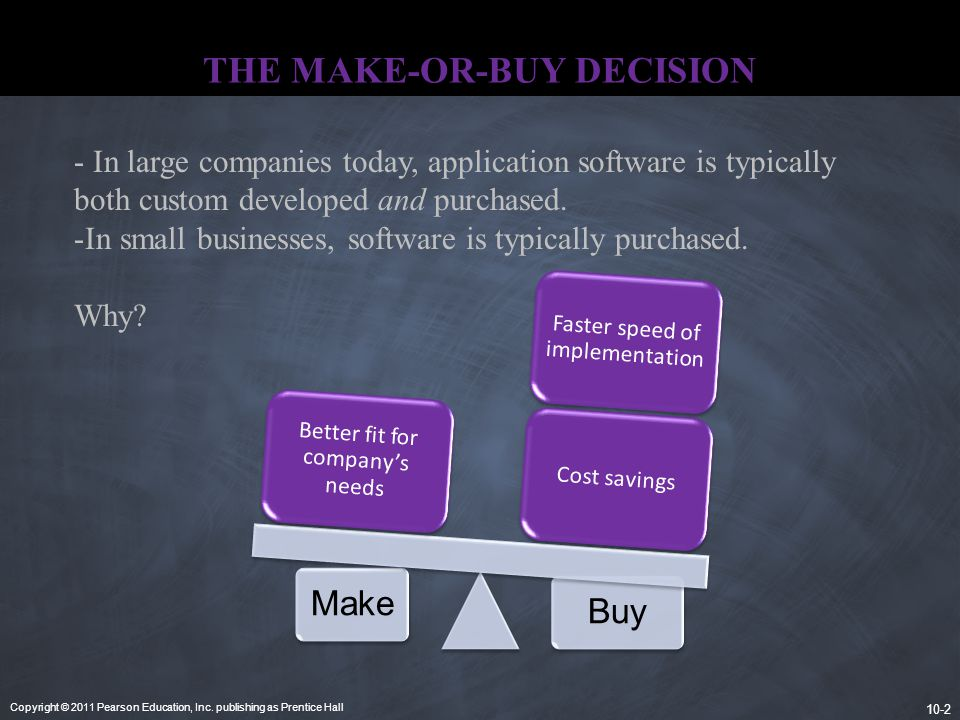 Copyright © 2011 Pearson Education, Inc. publishing as Prentice Hall 10-2 THE MAKE-OR-BUY DECISION. MakeBuy Cost savings Faster speed of implementatio