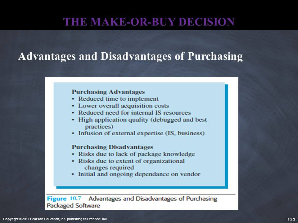 Copyright © 2011 Pearson Education, Inc. publishing as Prentice Hall 10-3 THE MAKE-OR-BUY DECISION Advantages and Disadvantages of Purchasing
