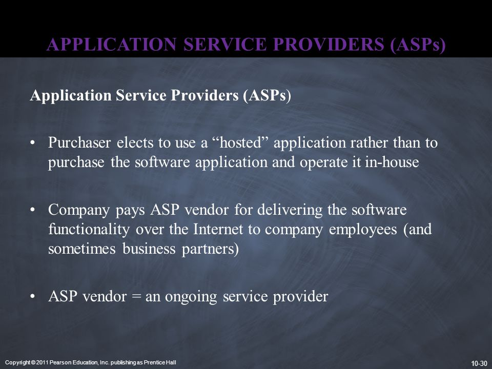 Copyright © 2011 Pearson Education, Inc. publishing as Prentice Hall 10-30 APPLICATION SERVICE PROVIDERS (ASPs) Application Service Providers (ASPs) P