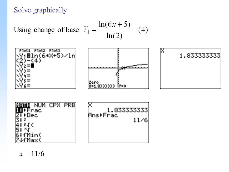 Solve graphically x = 11/6 Using change of base