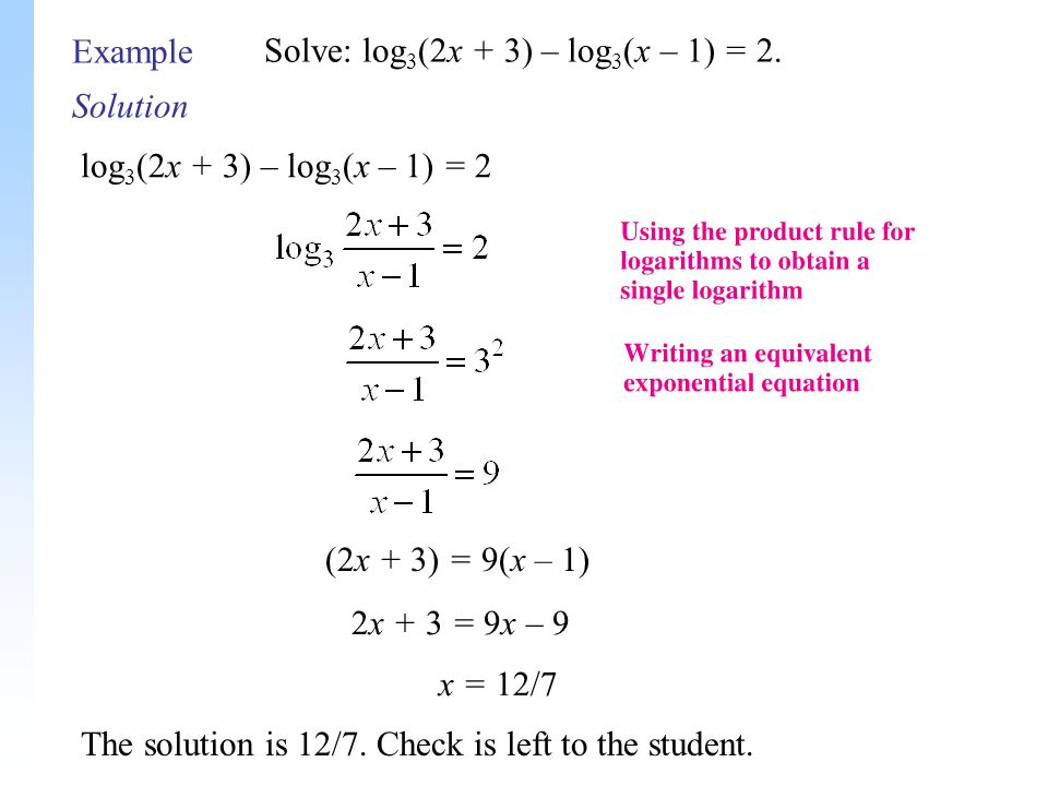 Solution Example Solve: log 3 (2x + 3) – log 3 (x – 1) = 2.