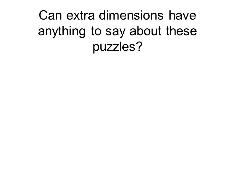 Can extra dimensions have anything to say about these puzzles?