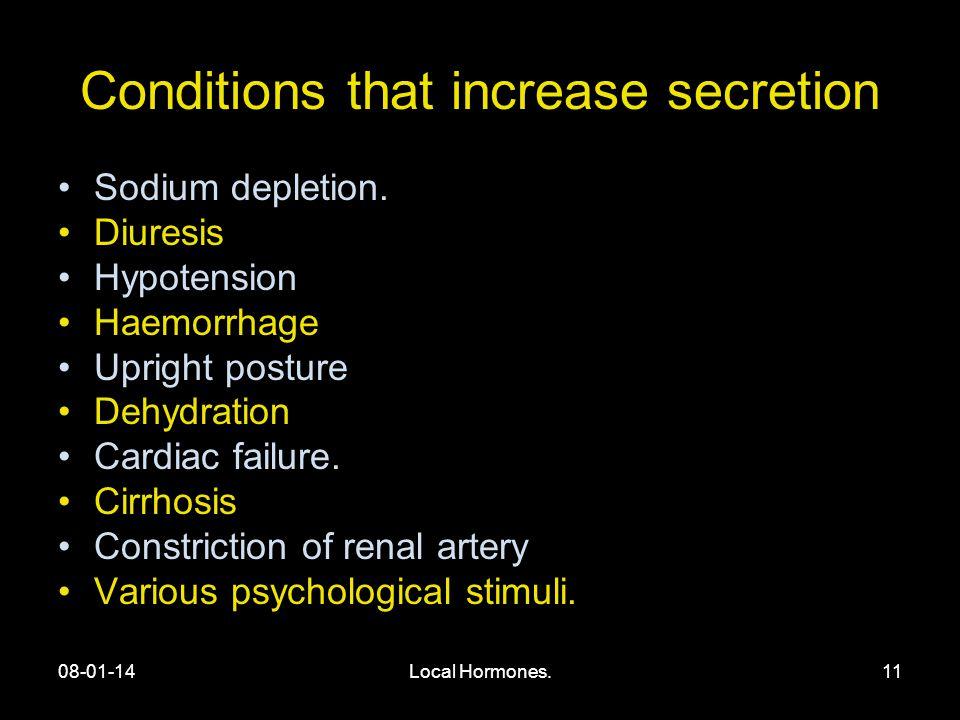 08-01-14Local Hormones.11 Conditions that increase secretion Sodium depletion.