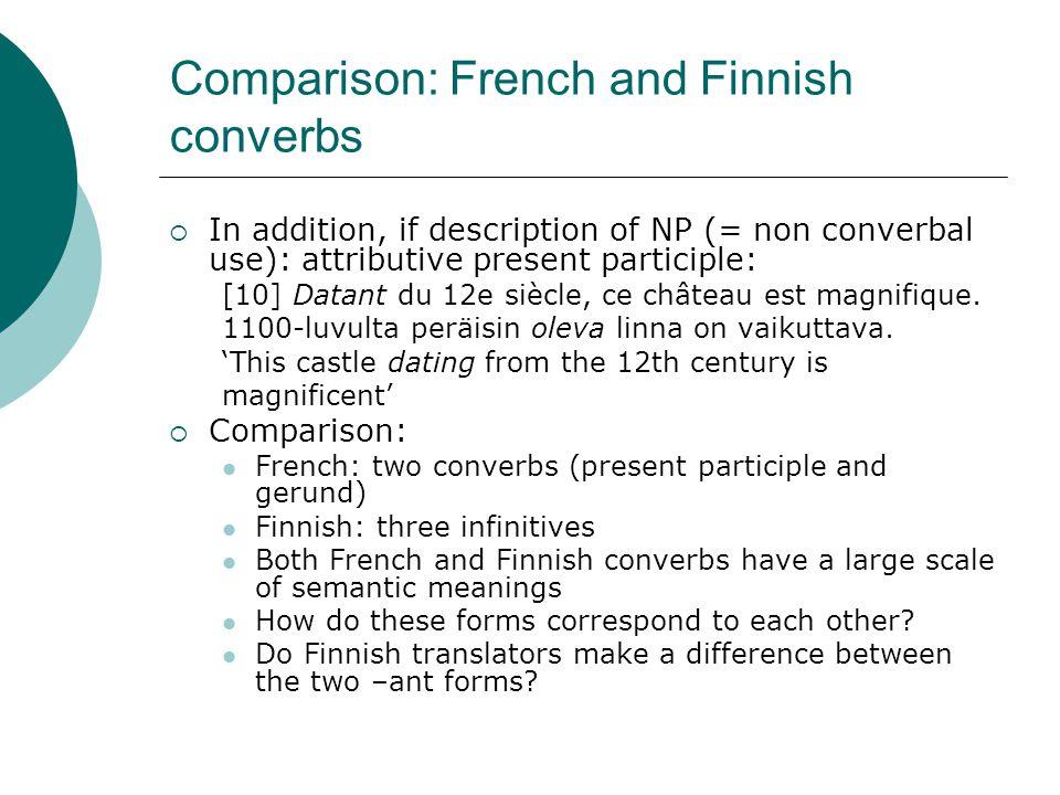 Comparison: French and Finnish converbs  In addition, if description of NP (= non converbal use): attributive present participle: [10] Datant du 12e siècle, ce château est magnifique.